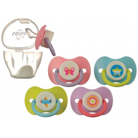 Suzeta Minut Baby 0+ si cutie pentru sterilizare, diverse culori