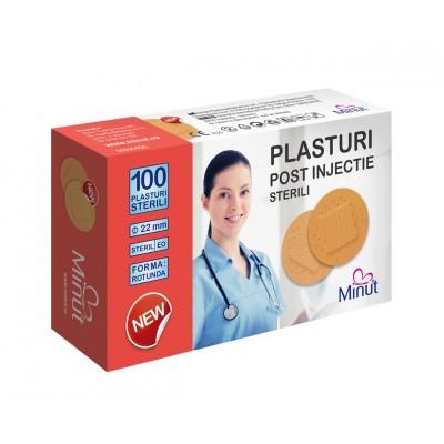 Plasturi post injectie Minut rotunzi 22mm, PVC 100buc