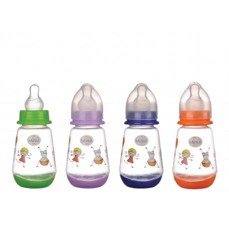 Biberon Minut Baby 150 ml, cu tetina silicon 0+, diverse culori
