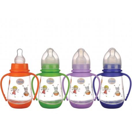 Biberon Minut Baby 150 ml cu manere si tetina silicon 0+, diverse culori