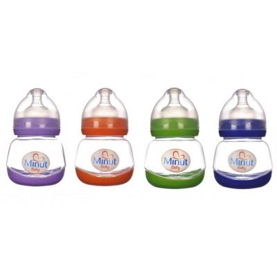 Biberon Minut Baby 150 ml gat larg 0+, diverse culori