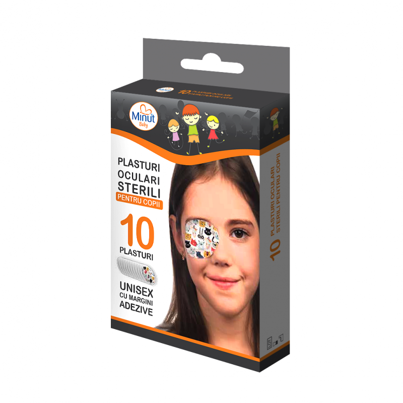 Plasturi oculari sterili cu desene Minut, pentru copii, 10buc