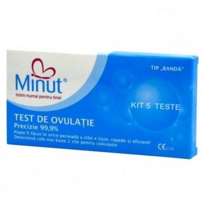 Test de ovulatie Minut intim , tip banda-5 bucati + 1 test sarcina cadou