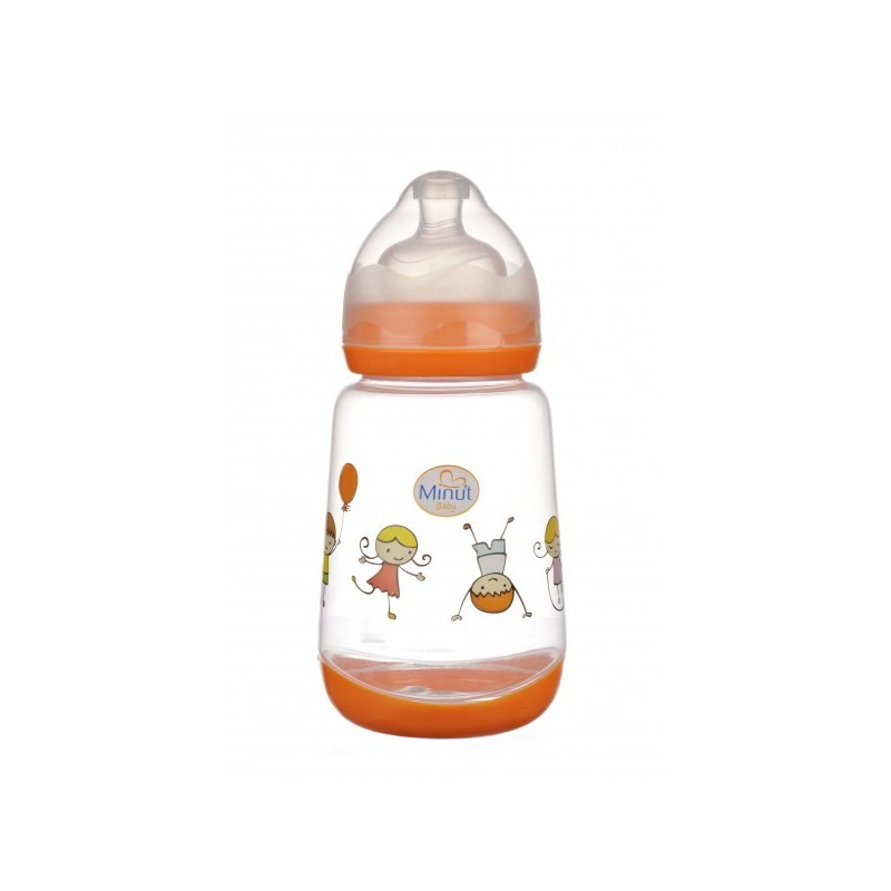 Biberon Minut Baby 300 ml gat larg cu tetina silicon 0+, diverse culori